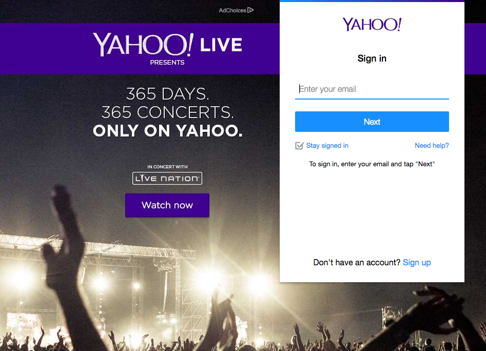 Yahoo Mail login screen