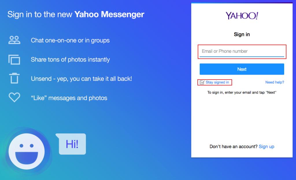yahoo messenger sign in