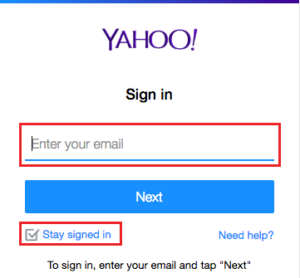 mail yahoo login