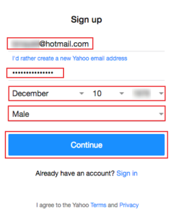 sign up yahoo with your own email address