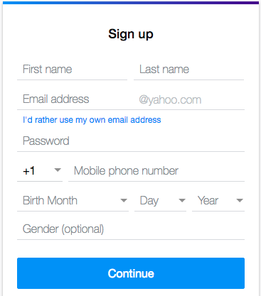 yahoo email registration