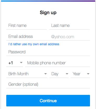 yahoo email registration